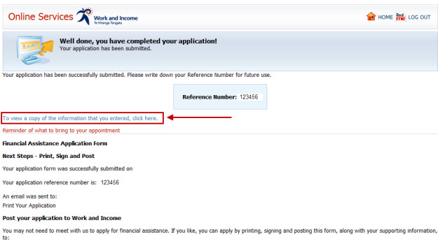 Screenshot of Apply Online confirmation page